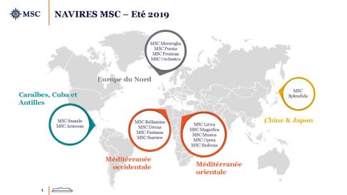 Position navires MSC été