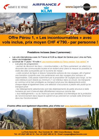 Offre Pérou 1 Incontournable