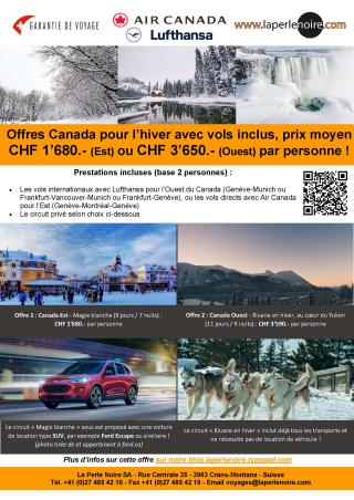Offres Canada hiver