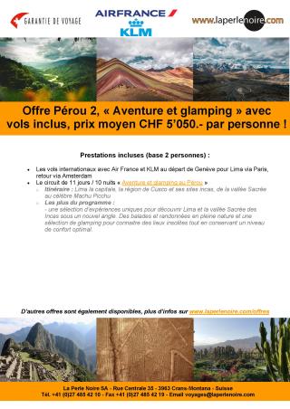 Offre Pérou 2 Aventure et glamping