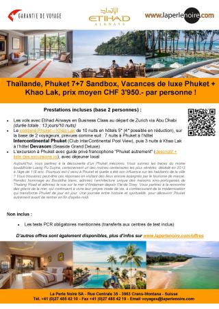 Offre 5 Phuket Sandbox 7+7